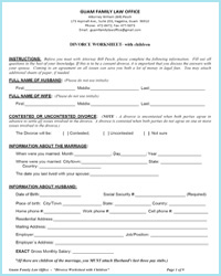 divorce worksheet with children