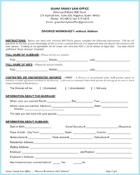 Divorce worksheet without children word